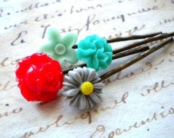 Flower Hair Accessories Flower Girl Bobby Pin Flower Hair Pin Children Hair Accessories Red Rose Bobby Pin Flower Cabochon Hair Accessories