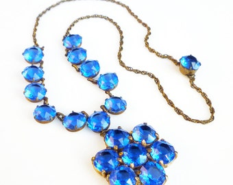 Art Deco Necklace, Crystal Necklace, Blue Crystals, Gold Tone, Art Deco Jewelry, Antique Jewelry, Vintage Necklace