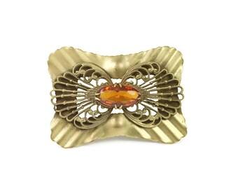 Victorian Brooch, Topaz Citrine, Amber Glass, Gilt Filigree, Bridal Sash, Vintage Brooch, Antique Jewelry, Steampunk Fashion