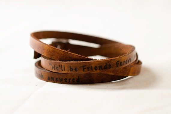 Friends Forever, Winnie the Pooh Ultra Long Leather Wrap Bracelet Leather Stacking Bracelet, Leather Cuff Bracelet, Triple Wrap Bracelet
