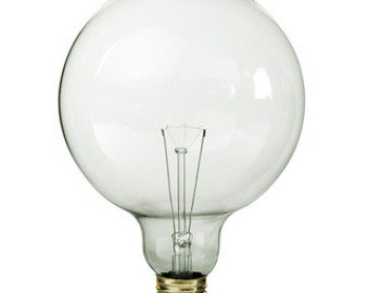 XL 5 Inch Clear Globe Light Bulb - Vintage Industrial Edison Glass Globe - 25W 110V