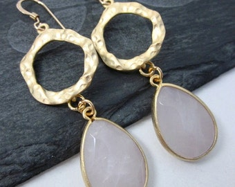 Rose Quartz Earrings -- Pink Gem Earrings -- Pink Stone Drops -- Gem Hoop Earrings -- Rose Quartz Hoops -- Light Pink Quartz Earrings