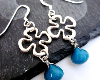 Teal Blue Earrings -- Chrysocolla Earrings -- Teal and Silver Earrings -- Clover Dangle Earrings