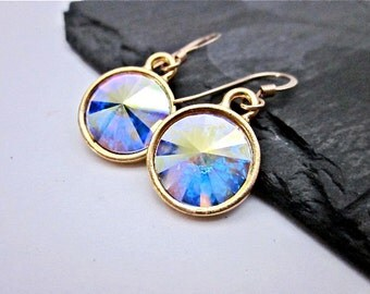 AB Crystal Swarovski Earrings --  Gold & AB Drop Earrings -- Aurora Borealis Crystal Earrings -- Crystal Drop Earrings
