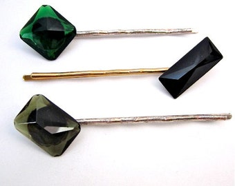 Green & Black Hair Pins -- Assorted Bobby Pins -- Jeweled Hair Accessories -- Bobby Pin Multi Pack