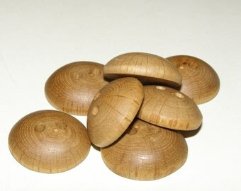 "7 Handmade oak wood  Buttons , accessories (1,02"" diameter x 0,35"" thick)"