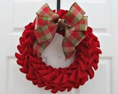 Red Burlap Petal Wreath With Plaid Bow - Christmas Holiday Wreath Home Decor - For Her Gift Idea