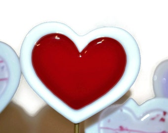 Heart Plant Stake, Garden Stake, Fused Glass, Valentine's Day, Wedding Guest Favor, I Love You, Red