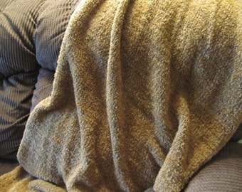 Toffee Plush Knitted Prayer Shawl 38 x 75 machine washable, acrylic blend