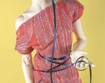 Orange and Silver Shift Dress  for MSD SD+ Ball Jointed Doll