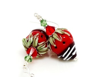Chocolate Dipped Strawberry Earrings, Valentine Earrings, Valentine Jewelry, Food Earrings,Lampwork Earrings, Dangle Earrings, Fruit Earring