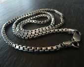 """Men's Chain Necklace in Oxidized Sterling Silver Box Chain 2.5 mm, 18, 20"""", 24"""", 30"""", 36"""", Men's Necklace"""
