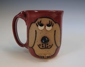 Dog Face Mug in Brick Red - Holds 18 ounces - In Stock