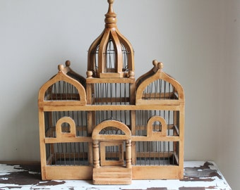 Vintage Decorative Wooden Bird Cage with Wire, Church or Temple Design