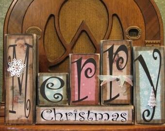 Shabby Chic Christmas Sign Word Blocks - Merry Christmas