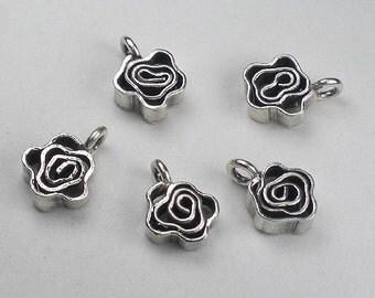 Flower Charms Karen Hill Tribe Square Charms Thai Silver Rose Flower Soldered 2 pcs. HT-223