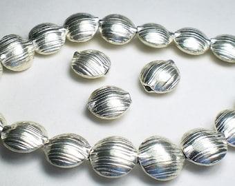 12mm Puffed Coin Beads Karen Hill Tribe Fine Silver 3 pcs.  HT-242