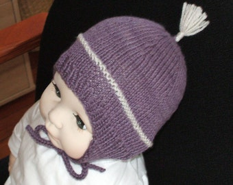 Adorable ear flap hat for baby or toddler hand knit in a lovely 15 percent Silk and 85 percent Wool