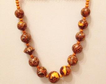 Polymer clay necklace. Бусы ручной работы из полимерной глины
