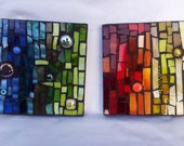 Two Mosaic Glass Picture, Wall Kitchen Home Decor, Stained glass, Office Decor, wall decor,Building decor, Wall ornament,