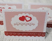 Handmade Valentines Cards I Love You Red and White Set of Three