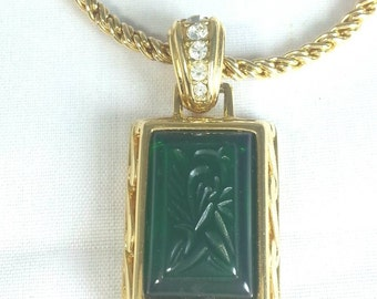 """Green Etched Glass Pendant on 33"""" Chain Signed Nolan  Miller"""