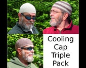 Mens Cotton Cancer Cooling Cap Triple Pack: Oatmeal & Chocolate Twist