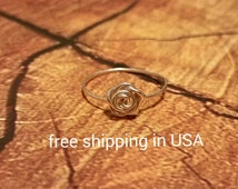 sterling silver rose stacking ring FREE SHIPPING
