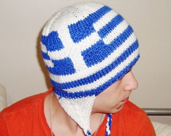 Father's Day, Fathers Day Gift, Greek Dad Gift, Knit Greek Flag Hat with Ear Flap Hat, White Blue, Hand Knit Hat