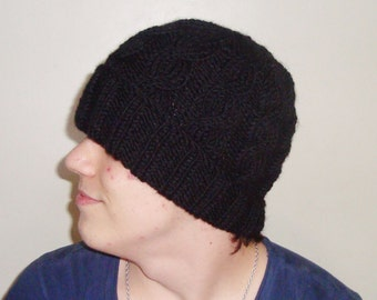 Alpaca wool hat for mens hat - Cable Beanie in Black Knit Hat - Mens Accessories Winter Hat