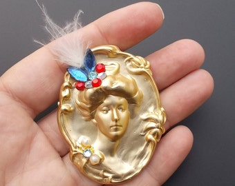 Vintage Art Nouveau Style Brooch Pin Victorian Lady Rhinestone Feather Imitation Pearl Brass Cameo
