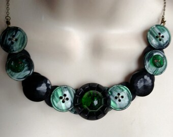 SALE, Gracious in Green Button Necklace