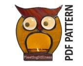 PDF Pattern for Stained Glass Owl w/ Ears Up - FleetingStillness Original Design