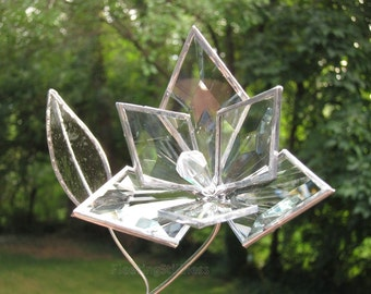 Glass Flower Bevel Glass Flower Wedding Proposal 3D Love Handmade OOAK 6p