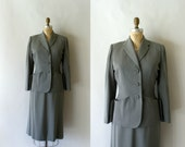 1940s Vintage Suit - 40s Grey Wool Gabardine Skirt Suit - When the smoke clears