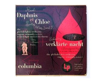 """Alex Steinweiss record album design, 1950. """"Ravel Daphnis et Chloé / Schönberg Verklärte Nacht"""" LP"""