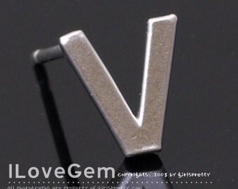 NP-1608 Matt Rhodium Plated, Alphabet, Upper case, Initial Stud Earrings, V, 2pcs
