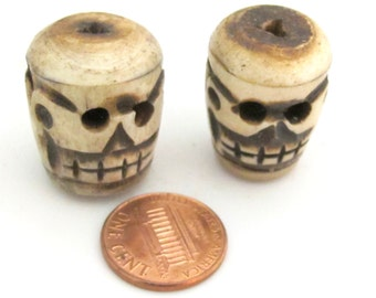 2 Beads - Large thick handmade skull carved old bone beads  - HB058