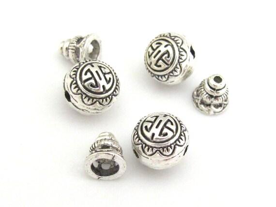 2 sets -  Guru bead set - Light weight tibetan silver  3 hole Guru bead 10 mm size and column bead set - GB006