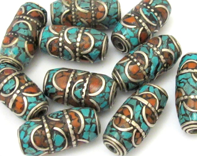1 Bead - Large tube tibetan silver turquoise and coral inlaid  bead  - BD693