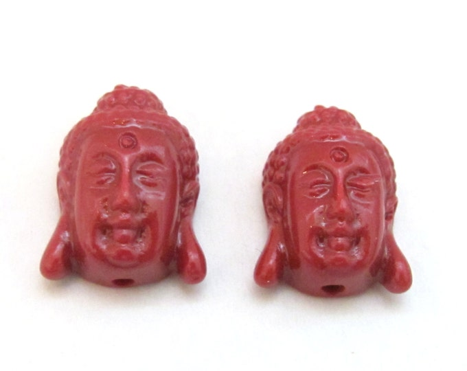 2 BEADS - Red resin light weight small size Buddha face pendant beads - BD700