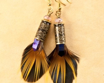 "Bullet earrings - ""Steampunk Crystal"" - Pheasant feather earrings - etched bullet earring"