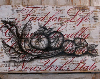 Food for Life original acrylic painting on re-pourposed wood