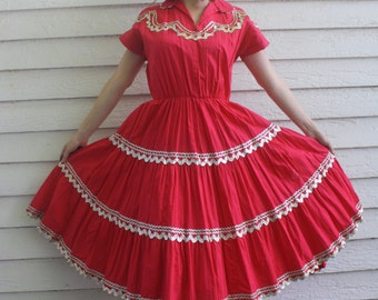 Vintage Red Patio Dress Full Skirt Country Ric Rac Cotton Square Dance S