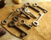 vintage ornate keys - 9 old keys - vintage iron skeleton keys.(P-18c)