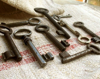 Vintage Skeleton Keys - Old Keys - 9 Iron Keys (P-12d)