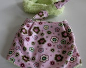 Pink and Green Bandana Bib and Coordinating Hair Band: Bib 'n Bow Baby Girl Gift, Baby Girl Shower Gift