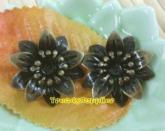 3D Antique Brass 25mm Daisy Flower Bead, 6 pcs(Nickel Free)
