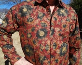 Ethnic Men's Handmade Indian Cotton Long Sleeve Button Down Pocket Shirt - Burgundy Gold Floral - James H767