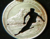 Skier Hand Cut  Coin Jewelry